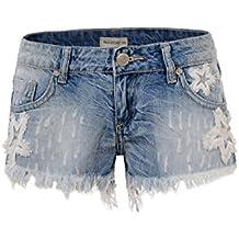 GLOSTORY Women's Causal Low Waist Tassels Skinny Juniors Vintage Denim Shorts WNK-2191