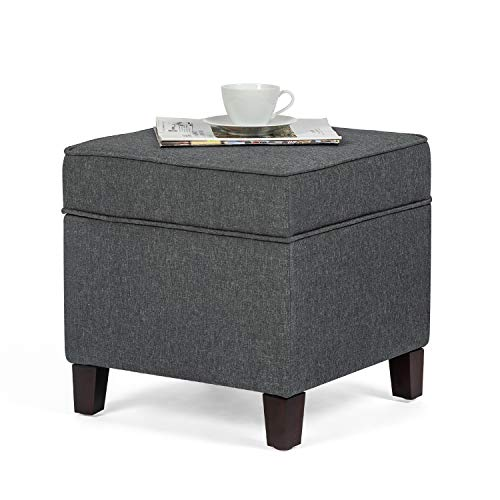 Adeco Fabric Ottoman with Storage Chest and Footrest – Square Seat, 18 x18 x15 Gray