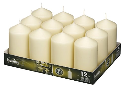 Bolsius Pillar Candles Ivory Tray 12 / 128 x 68 mm ( aprox 2.7x5 inch)