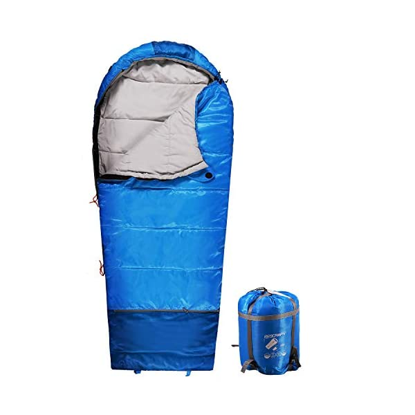 REDCAMP Kids Sleeping Bag for Camping, 32-77 Degree 3 Season Warm or Cold Weather Fit Boys, Girls & Teens Blue/Rose Red 3