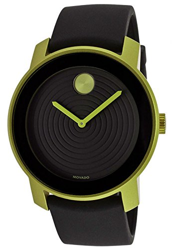 MOVADO BOLD 3600166 BLACK RUBBER STRAP GREEN ALUMINUM UNISEX WATCH