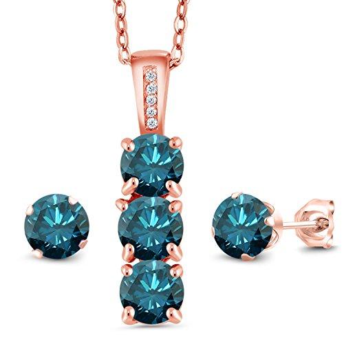 2.79 Ct Blue Diamond White Diamond 18K Rose Gold Plated Silver Pendant Earrings Set from Gem Stone King