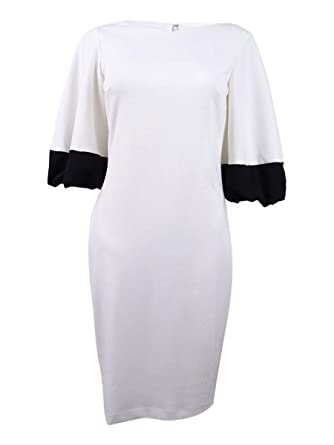 955253010d3 Calvin Klein Womens Color Block Bubble Sleeve Dress CD8C26ML at Amazon  Women's Clothing store: