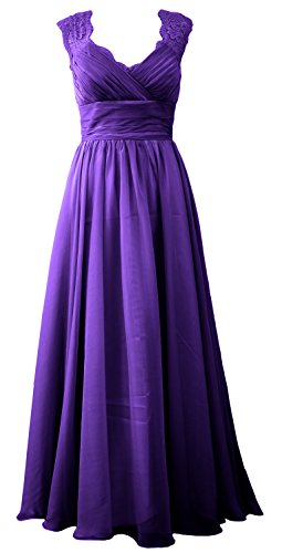 MACloth Women Bridesmaid Lace Gown Dress Formal Evening V Vintage Neck Violett Long BrBRnwZq