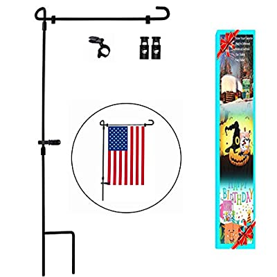"Garden Flag Stand, Premium Garden Flag Pole Holder Metal Wrought Iron Powder-Coated Weather-Proof Paint 36.5"" H x 16.5"" W with one Tiger Anti-Wind Clip and Two Anti-Wind Spring Stoppers"