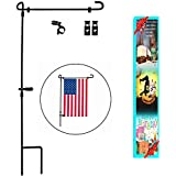 """Garden Flag Stand, Premium Garden Flag Pole Holder Metal Powder-Coated Weather-Proof Paint 36.5"""" H x 16.5"""" W with one Tiger Anti-Wind Clip and Two Anti-Wind Spring Stoppers Without Flag"""