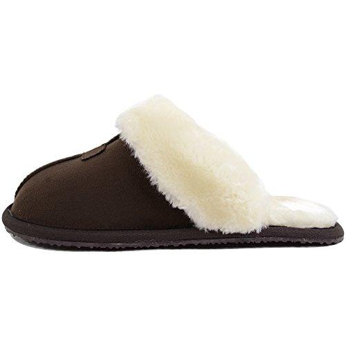 Mulo / Pantofola In Microsuede Da Donna / Donna Con Fodera In Calda Pelliccia Di Lusso Marrone