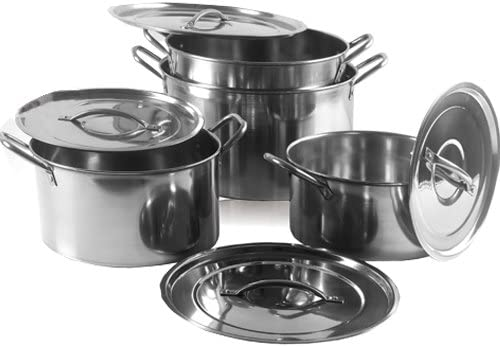 Set Of 4 Stainless Steel Deep Stock Pots Pans Quality Cookware Chef Kitchen UK