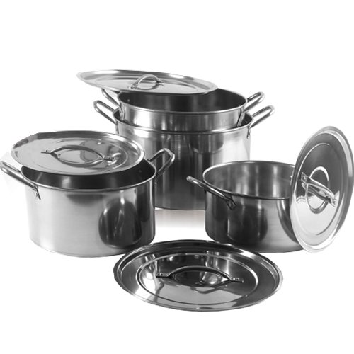 NEW 4PC LARGE STAINLESS STEEL CATERING DEEP STOCK SOUP BOILING POT STOCKPOTS SET B & I International Ltd Others