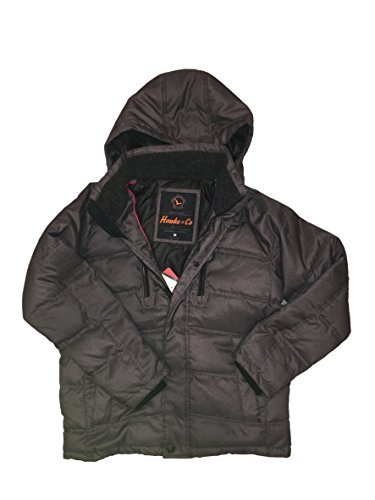 (Hawke & Co. Mens Down Feather Fill Coat with Removable Hood (M, Charcoal)