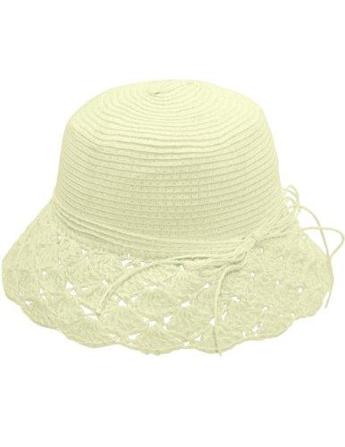 Dahlia Women's Summer Sun Hat - Crochet Brim String Bow Straw Hat - Cream ()