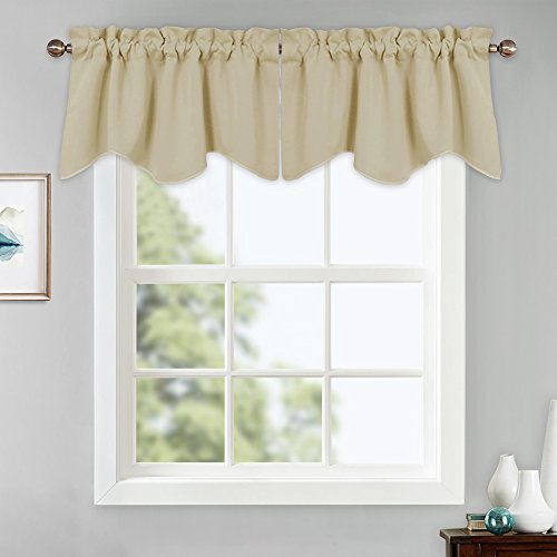 PONY DANCE Beige Window Valances - Scalloped Tiers Blackout Curtains Rod Pocket Half Drapes Home Decor Curtain Soft Fabric for Small Windows Kitchen, 42 x 18, Beige, 2 Pieces