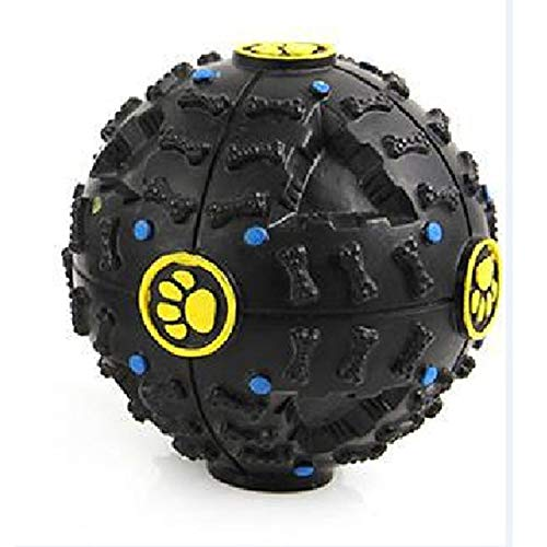 shine-hearty Pet Dog Treat Trainning Chew Sound Food Dispenser Toy Squeaky Giggle Ball,Black,L ()