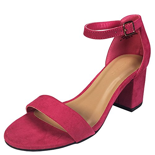 BAMBOO Women's Block Heel Sandal with Ankle Strap, Fuchsia Faux Suede, 6.0 B US