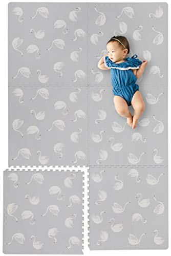 """Mat Whimsy - Stylish Extra Large Baby Play Mat Soft Playmat, Thick Comfortable Foam. Six 24"""" x 24"""" Floor Tiles for Infants Playing. Yay Mats Puzzle Mat 4 Tummy Time. Non-Toxic, No Odors, Spill Resistant, Durable."""