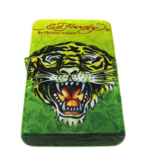 (one Ed Hardy Oil Lighter Tattoo Design Flip-Top Flint Refillable Tiger)