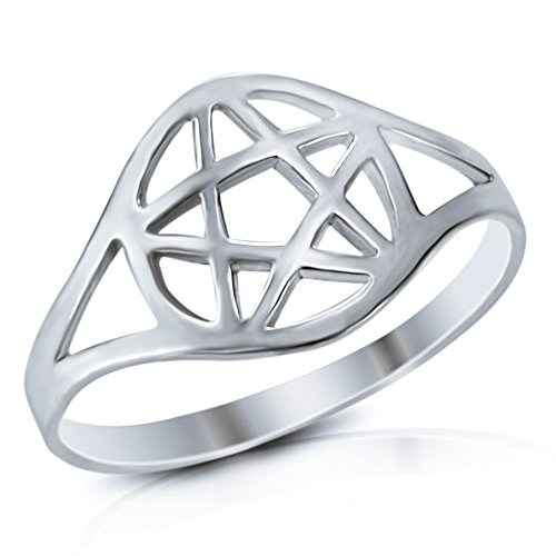 925 Sterling Silver Wicca Pentacle Ring - Size (Pentacle Ring)