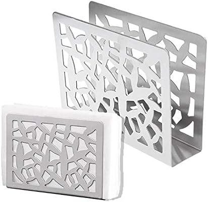 QAp weas Acero Inoxidable servilleta Estante Caja portapapeles cubertería diseño Hueco Mesa: Amazon.es: Hogar