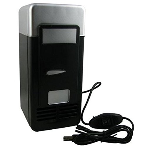 IMAGE® Mini USB-Powered Fridge Cooler for Beverage Drink Cans in Cubicle and Home office (Black)
