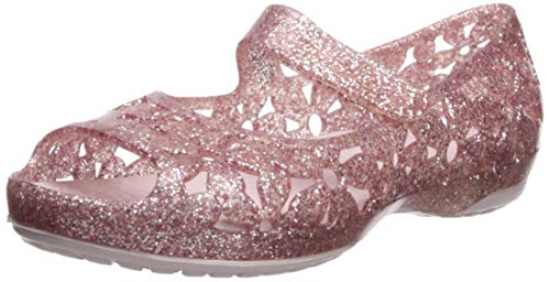 (Crocs Girls' Isabella Flower Flat Ballet, Barely Pink 13 M US Little Kid)