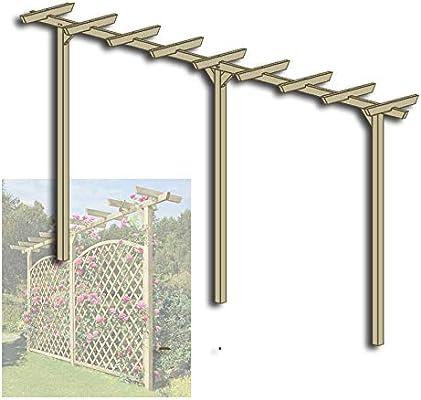 Gartenpirat Pergola de Madera Puerta Arco Rank Ayuda Longitud Aprox. 450 cm (7 x 7): Amazon.es: Jardín