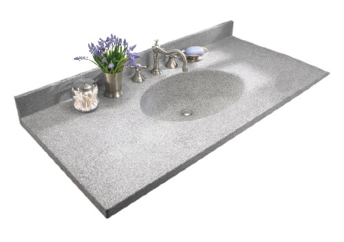 Granite Depth Swanstone Bath Sink - Swan CH02237.042 Chesapeake 37-in L x 22-in W x 6.125-in H Solid Surface Vanity Top, Gray Granite