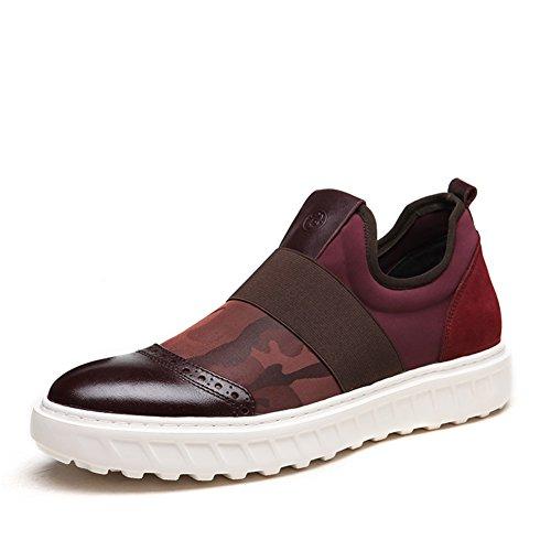 Mens Leder Freizeit Sehnen Schuhe Dress Herbst Business Hochzeit Mode Rutschen Schwarzbraun Rot