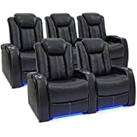 Seatcraft Delta Home Theater Seating Leather Power Recline, Powered Headrests, and Built-in SoundShaker (Black, One Row of 2, One Row of 3)