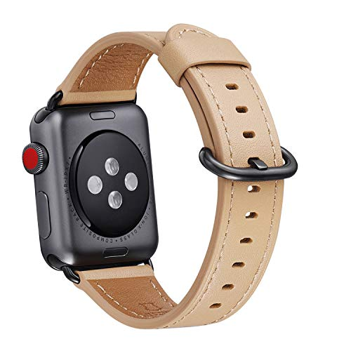 WFEAGL Compatible iWatch Band 38mm 40mm 42mm 44mm, Top Grain Leather Bands of Many Colors for iWatch Series 4,Series 3,Series 2,Series 1 (Camel Band+Black Adapter, 38mm 40mm)