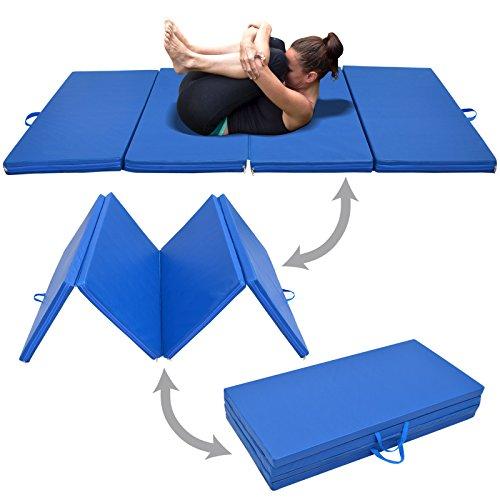 BenefitUSA 4 Foldable Folding Panel Gym Gymnastics Exercise Yaga Mat Pad Blue Color (SIZE 4'x8'x2″)