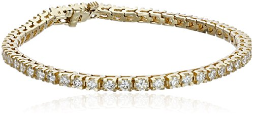IGI-Certified 14k Yellow Gold and Diamond Tennis Bracelet (4 cttw, H-I Color, I1 Clarity), 7