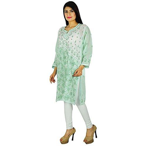 India étnicas Diseñador Kurti algodón Chikan regalo vestido de la túnica casual para sus damas Mar verde y del blanco