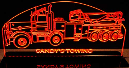 "ValleyDesignsND Wrecker Tow Truck Rotator (Choose Your Text) Acrylic Lighted Awesome 21"" Acrylic Black Mirror Base 30 Led Edge Lit Sign Light Up Plaque Made in The USA"