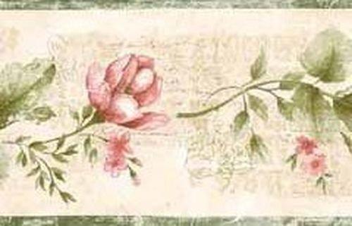 Green Red Rose Wallpaper Border 002130ES Wallpaper