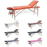 H-ROOT 3 Sezione Tavolo da Massaggio Leggera Large Deluxe Lettino da Massaggio Portatile Terapia Tatoo Salon Reiki Healing Massaggio Svedese (186cm x 60cm x 62-83cm, arancia)