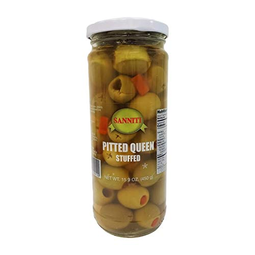 Sanniti Spanish Pitted Queen Olives Stuffed with Pimento, 15.9 Ounce