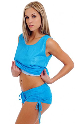Women's Juniors Mesh Hot Athletic SHORTS TURQUOISE (SMALL) ()