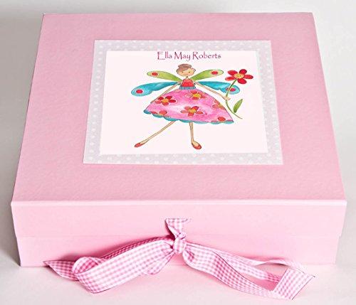 Baby-Geschenk, Personalisierte Erinnerungsbox, Baby-Schachtel Baby, Mädchen, Baby-Andenken,, Blume und Fee, 1 Stück