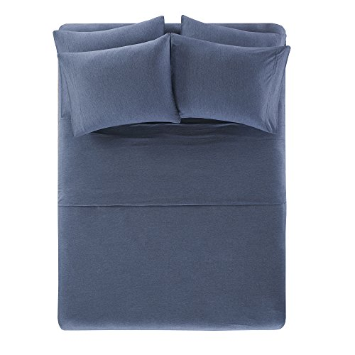 Comfort Spaces Cotton Jersey Knit Sheets Set - Ultra Soft Queen Bed Sheets with Deep Pocket - Navy Bedding Sets Includes 6 Pieces [ 1 Fitted Sheet,1 Flat Sheet, and - Queen Sheet Knit Jersey