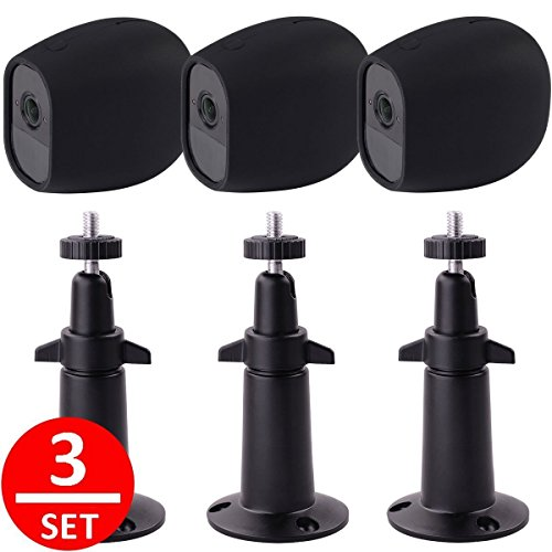 EEEKit Adjustable Outdoor Indoor Metal Wall/Ceiling Mount+ Protective Silicone Skins Cover Case for Arlo Pro/Arlo Pro 2 Home Camera (3-Set Black) Review