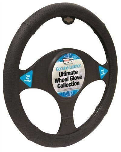 Peugeot RCZ Black Genuine Leather Steering Wheel Cover Glove 37cm: