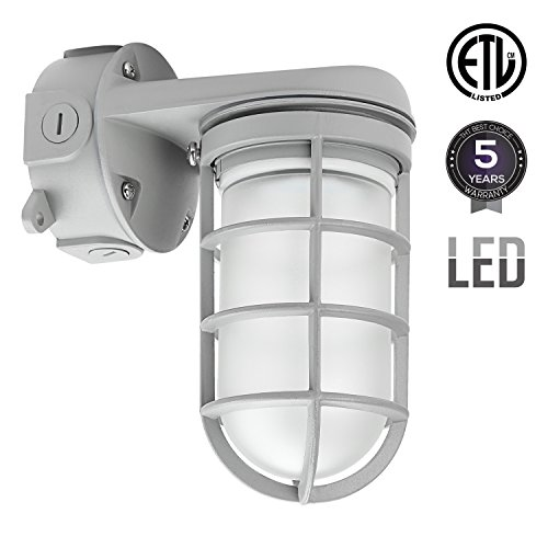 Dust Proof Outdoor Housing (Integrated LED Vapor Proof Outdoor Fixture, 20W (70W MH/HPS Equivalent), Vandal Proof Industrial Jelly Jar, 4000K Cool White, ETL-listed, Weather Tight Wall Mount Light)