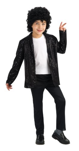 Michael Jackson Child's Deluxe Billie Jean Sequin Jacket Costume Accessory, Small (Denim Jacket Halloween Costume)