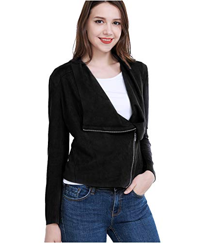Fasbric Women Lightweight Whole Faux Chamois Leather Zipper Jacket Suede  Tops Solid Coat Outwear (Spring 3c9cfc02607
