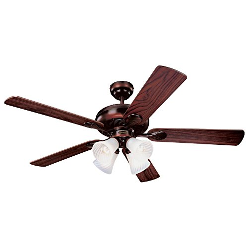 5 Blade Swirl Ceiling Fan (Westinghouse 7856820 Swirl Four-Light 52-Inch Reversible Five-Blade Indoor Ceiling Fan, Rustic Bronze with Frosted Swirl Glass Shades)