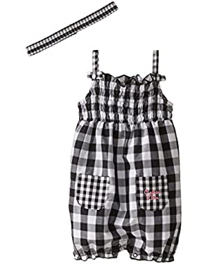 Baby Girls' Black and White Gingham Romper with Headband