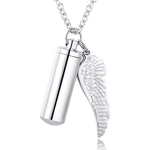 - XIUDA Cremation Jewelry Urn Necklace for Ashes with Angel Wing Charm & Cylinder Eternity Stainless Steel (Silver)