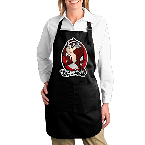 Tasmanian Devil Taz Looney Tunes Adjustable Bib Chef Kitchen Aprons With Pockets Black (Space Jam Costumes)