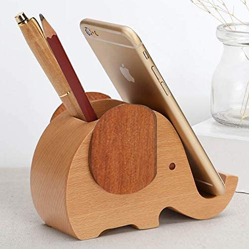 Stifthalter Cup aus Holz Elefant Multifunktionales Offical Mini Faule Bracket-Telefon-Halter-Feder-Halter,ZhangJJun