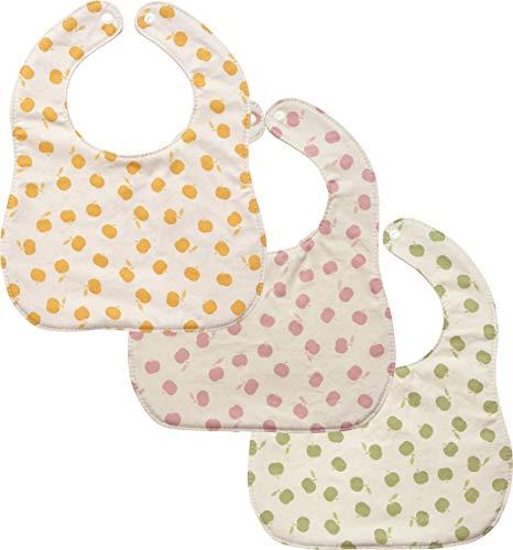 AVAUMA Baby Girl Boy Unisex Fabric Drooling Feeding Bibs Spring Summer Apple Pattern (3-Pack, YW/PK/GR)